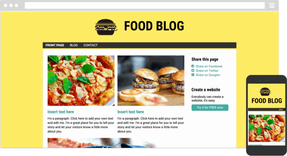 Mobile responsive template for a food blog