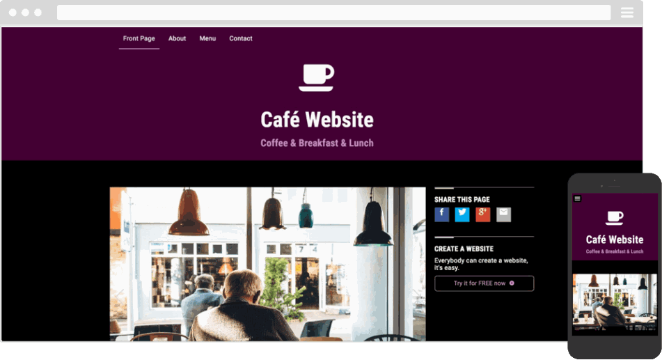 Mobile responsive template for a cafe website